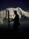 Skier's Silhouette, Tibet Photographic Print by Michael Brown