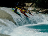 Kayakers Drop Vertically on Shumel Ja River, Mexico Prints by Michael Brown
