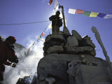 Preparing the Prayer Flags, Everest Base Camp Photographic Print by Michael Brown