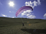Paraglider on Field, USA Posters by Michael Brown