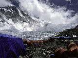 Advanced Base Camp with the North Col in the Background on the North Side of Everest Photographic Print by Michael Brown