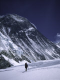 Mountaineer Climbing Through the Western Comb, Nepal Prints by Michael Brown