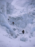 Climbing Khumbu Ice Fall, Nepal Photographic Print by Michael Brown