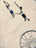 High Angle View of Two Young Men Playing Basketball Photographic Print