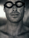 Portrait of a Young Man Wearing a Swimming Cap and Swimming Goggles Photographic Print