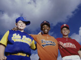 Low Angle View of Three Boys on a Baseball Team Photographic Print