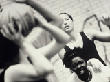 Group of Young Women Playing Basketball Photographic Print