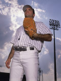Low Angle View of a Baseball Player Holding a Baseball Mitt Photographic Print