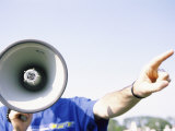 Person Talking into a Bullhorn Photographic Print