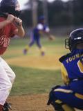 Three Boys Playing Baseball Photographic Print