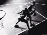 High Angle View of Two Young Women Playing Basketball Photographic Print
