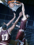 Basketball Player Slam Dunking Photographic Print