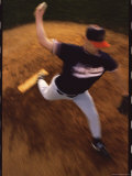 High Angle View of a Baseball Player Pitching a Ball Photographic Print