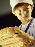 Close-up of a Boy in a Baseball Uniform Photographic Print