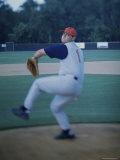 Baseball Player Throwing a Baseball Photographic Print