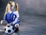 Portrait of a Girl Squatting Holding a Soccer Ball Photographic Print