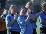 Portrait of Teenage Girls on a Soccer Team Applauding Photographic Print