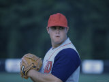 Baseball Player Wearing a Baseball Mitt Photographic Print