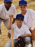 Portrait of Three Boys in Full Baseball Uniforms Photographic Print