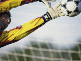 Goalie Attempting to Stop a Soccer Ball Fotografisk trykk