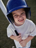 Portrait of a Boy Holding a Baseball Bat Photographic Print