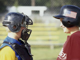 Two Boys in Baseball Uniforms Looking at Each Other Photographic Print