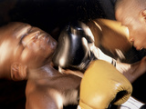 Side Profile of Two Male Boxers Fighting Photographic Print