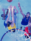 High Angle View of a Group of Young Women Playing Basketball Reproduction photographique