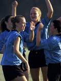 Teenage Girls on a Soccer Team Celebrating Photographic Print