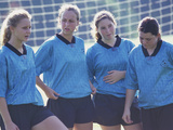 Teenage Girls on a Soccer Team Standing Together Photographic Print