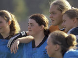 Group of Teenage Girls on a Soccer Team Standing Together Photographic Print