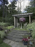 Steps Leading to Garden Seating Area Photographic Print