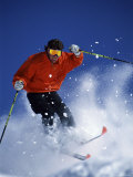 Skier in Red with Yellow Goggles Photographic Print