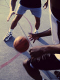 Low Section View of Two Mid Adult Men Playing Basketball Photographic Print