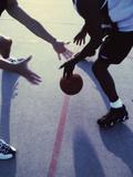 High Angle View of Men Playing Basketball Photographic Print