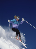 Woman Enjoying Skiing Photographic Print