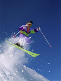 Skier in Brightly Colored Garb Photographic Print