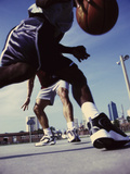 Low Angle View of Two Men Playing Basketball Photographic Print