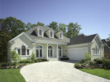 Curving Driveway to Contemporary Home Fotoprint