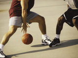 Two Men Playing Basketball Photographic Print
