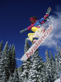 Snowboarder with Outstretched Arms Photographic Print