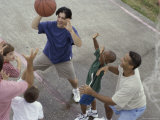 High Angle View of a Group of People Playing Basketball Photographic Print