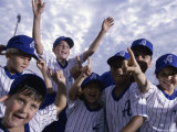 Group of Boys on a Baseball Team Celebrating Together Photographic Print
