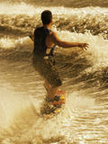 Rear View of a Young Man Wakeboarding Photographic Print