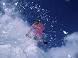 Pink Clad Snowboarder Photographic Print