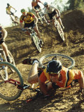 Young Man Falling off his Bicycle in a Race Photographic Print