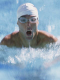 Close-up of a Young Man Swimming the Breaststroke Photographic Print
