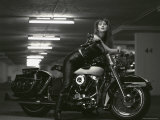 Woman and Motorcycle Photographic Print