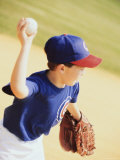 Boy Throwing a Baseball Photographic Print