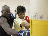 Young Male Coach Coaching a Female Boxer Photographic Print